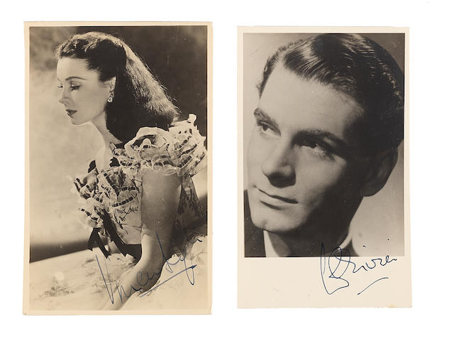 Vivien Leigh and Laurence Olivier: A pair of autographed postcards,2