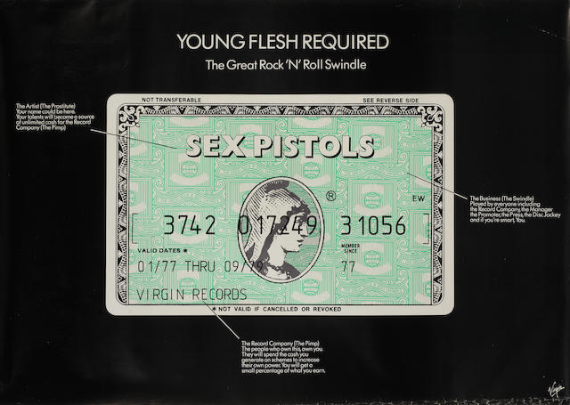 Sex Pistols: A 'Young Flesh Required/The Great Rock 'N' Roll Swindle' poster, 1979,