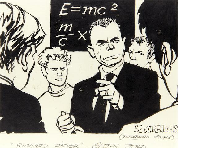 "Sherriffs (Robert Stewart Sherriffs) (British 1906 - 1960): A caricature ""Richard Dadier"" Glenn Ford,"