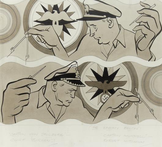 Sherriffs (Robert Stewart Sherriffs) (British 1906 - 1960): A caricature of Robert Mitchum,