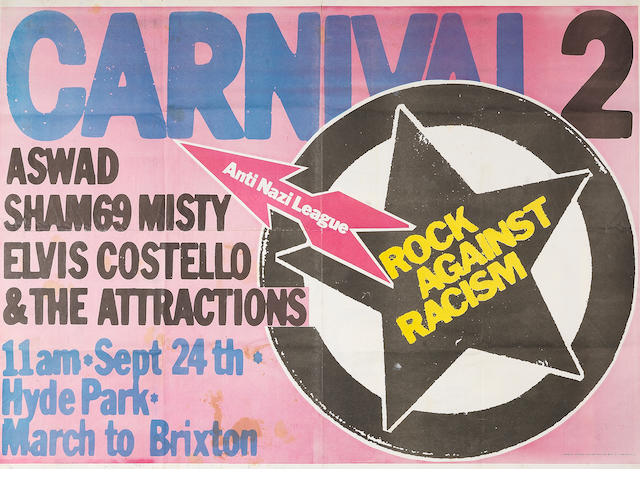 Rock Against Racism/Anti Nazi League: An original concert poster for 'Carnival 2',  24th September 1978,