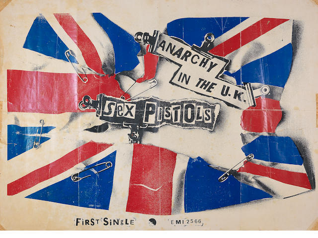 The Sex Pistols: An original 'Anarchy In The UK' single promo poster,  1976,