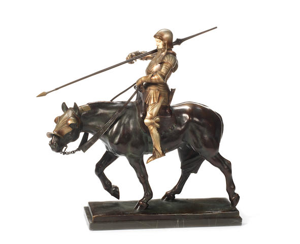 Albert Heinrich Hussmann, German (1874-1946): A silvered, patinated bronze and ivory model of a jousting knight (fischerstechen ritter)