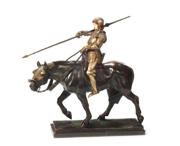 Albert Heinrich Hussmann, German (1874-1946): A silvered, patinated bronze and ivory model of a jousting knight (fischerstechen ritter)