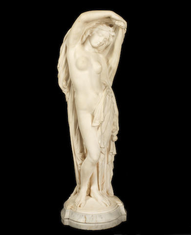 Joseph Felon, French (1818-1896)  A carved white marble figure of Nymph Revealed