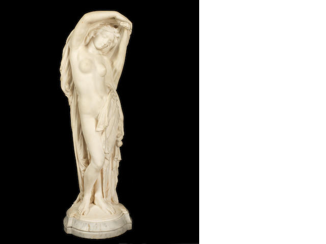 Joseph Felon, Nymph revealed, signed and dated 1861, marble