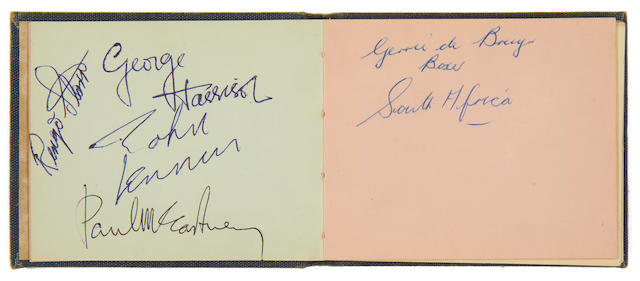 The Beatles: An autograph book signed by three members of the Beatles and others, 1960s,