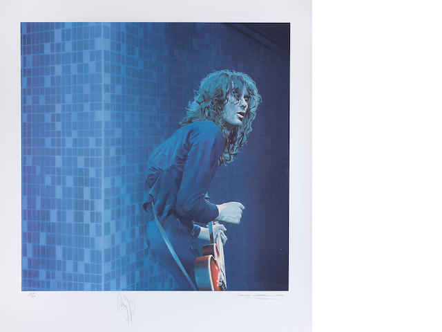 Jimmy Page: A colour silk screen print of Jimmy Page by Sandra Lawrence, 2000,