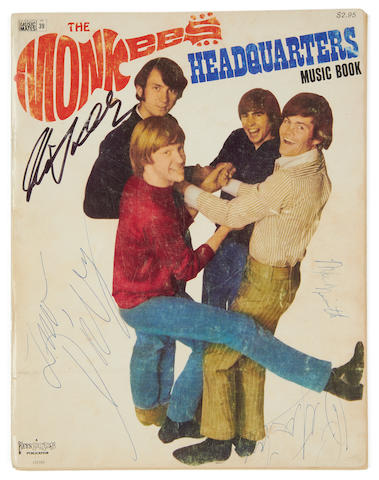 The Monkees: An autographed music book for the album 'Headquarters',