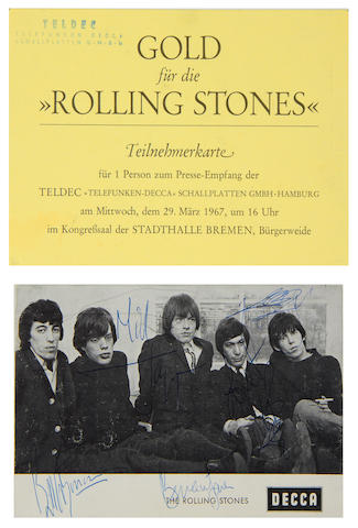 The Rolling Stones: An autographed publicity card and Press invitation, 1967,