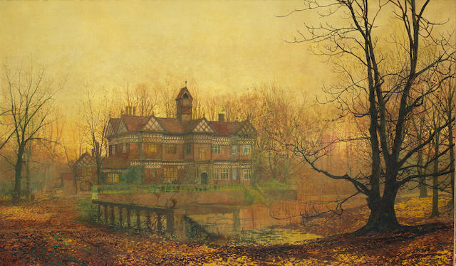 John Atkinson Grimshaw (British, 1836-1893) Old Hall in Cheshire - early morning, October