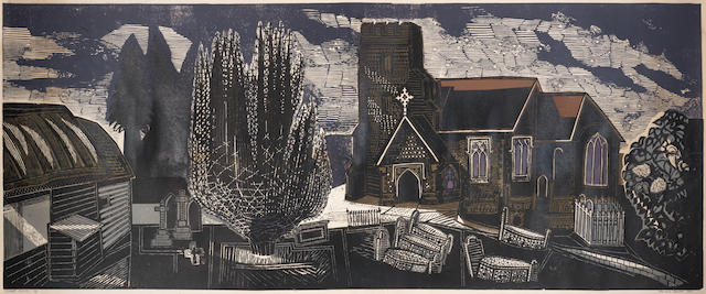 Edward Bawden R.A. (British, 1903-1989) Lindsell Church Linocut printed in colours, 1964, on wove, signed, dated, titled and numbered /50 in black ink, with margins, 610 x 1550mm (24 x 61in)(B)