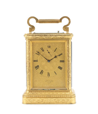 An exceptional mid 19th century English engraved gilt bronze striking and repeating giant carriage clock with subsidiary seconds indication James McCabe, Royal Exchange, London, 3101