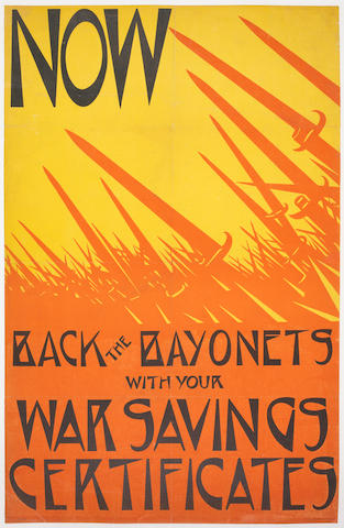 Christopher Richard Wynne Nevinson A.R.A. (British, 1889-1946) Now Back the Bayonets Lithographic poster, printed in red, black and yellow, on thin wove, backed onto linen, printed by Dangerfield Printing Co. Ltd, London, 750 x 480mm (29 1/2 x 18 7/8in)(SH)