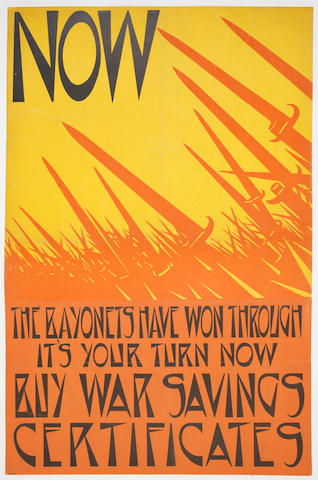 Christopher Richard Wynne Nevinson A.R.A. (British, 1889-1946) Now the Bayonets have won through Lithographic poster, printed in red, black and yellow, on thin wove, backed onto linen, printed by Dangerfield Printing Co. Ltd, London, 750 x 480mm (29 1/2 x 18 7/8in)(SH)