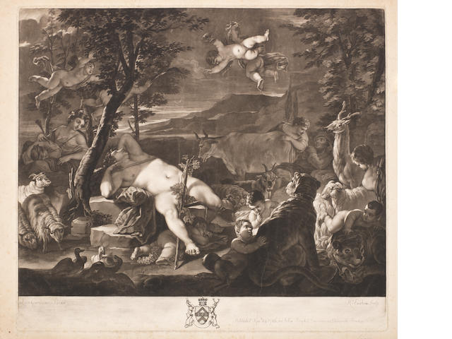 A Collection of 18th and 19th Century English Prints Two Richard Earlom mezzotints: a Bacchic Scene after Giordano, 1780, and a landscape after Hobbema, 1769, both scratched letter proofs before the title, both published by J.Boydell, a group of 12 landscape etchings by DC.Read,  mounted 2 to a sheet, two JS Lucas mezzotints after John Martin, 'The Plague of Darkness', 1835, and 'Belshazzar's Feast', published by Ritter & Groupil, Paris, two landscape etchings by Morland, an SW Reynolds engraving 'Moonlight', a T.Blaylock linocut 'Nocturne', on laid and wove papers Coll
