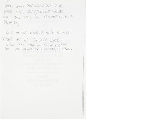 Robbie Williams: Eight lines of handwritten lyrics from 'John's Gay Lyrics',