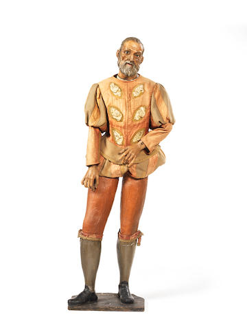 A late 18th / early 19th century Southern European polychrome and gessoed carved pine and beech processional figure of a bearded gentleman in 17th century dress, possibly a nobleman saintprobably Spanish or Neapolitan