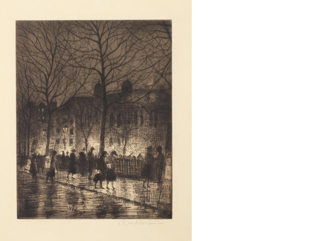 Christopher Richard Wynne Nevinson A.R.A. (British, 1889-1946) Twilight in Leicester Square (Guichard 79)
