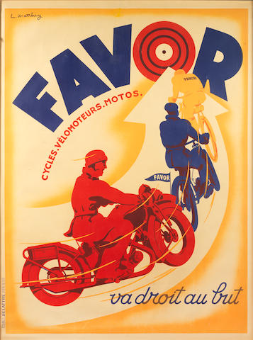 A Favor 'Straight to the Point' advertising poster, French, 1930s,