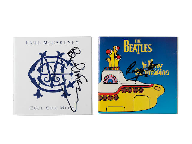 Paul McCartney and Ringo Starr: Two autographed CD album booklets,