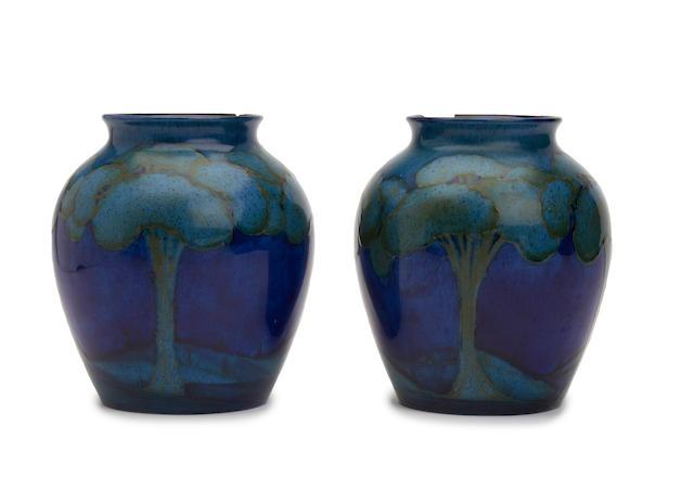 Pair Moorcroft Hazeldene vase (both A/F)