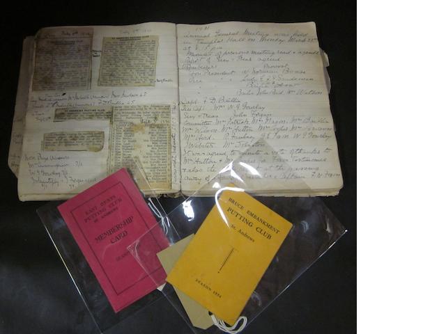 The original St. Andrews Putting Club minutes book