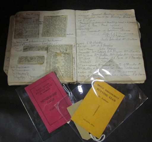 The original St. Andrews Putting Club minutes book