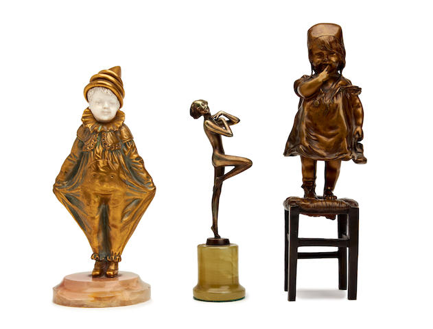 Small Lorenzl Bronze 1920s Clown another & child on a stool
