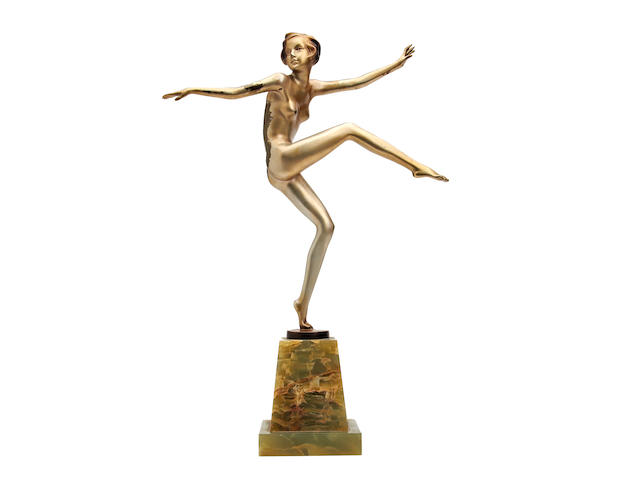 1920's lorenzo figure of a dancing girl - rubbed condition