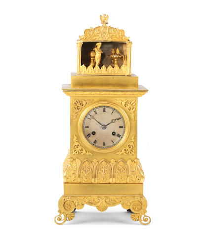 A very rare second quarter of the 19th century ormolu automata mantel clock The going barrel marked Faller, Paris and again Legrand Freres, Soeur et Cie.
