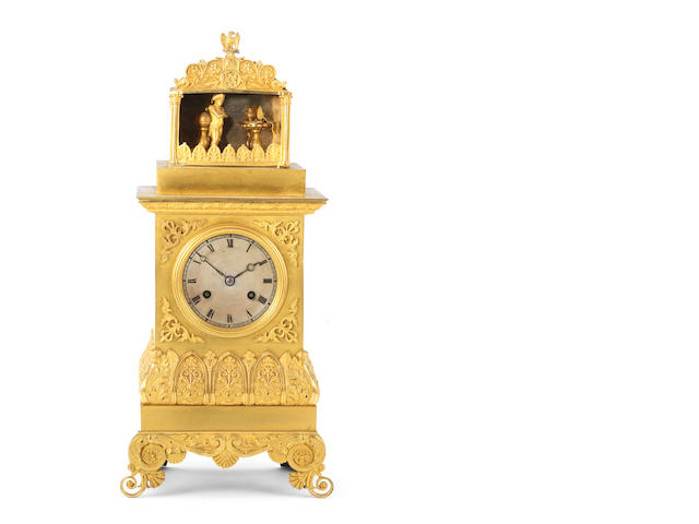 A very rare second quarter of the 19th century ormolu automata mantel clock The going barrel marked Faller, Paris and again Legrand Freres, Soeur et Cie.