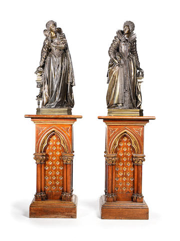 Mathurin Moreau, French (1822 - 1912):  Two patinated bronze figures, Queen Elizabeth I of England (1533 - 1603) and Mary Stuart, Queen of Scots (1542 - 1587)