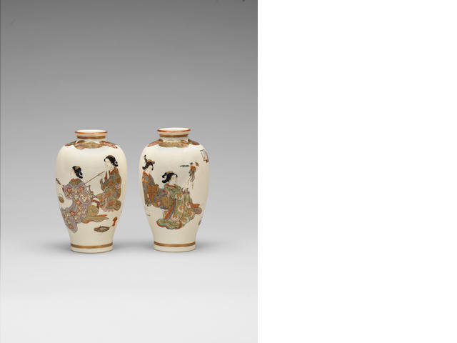 A pair of Satsuma oviform vases Meiji Period