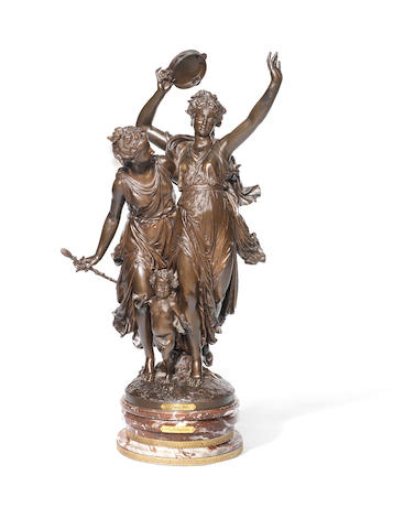 Jean-Louis Grégoire, French (1840 - 1890): A large patinated bronze figure group, L'Allégroprobably cast by the Bernoux foundry