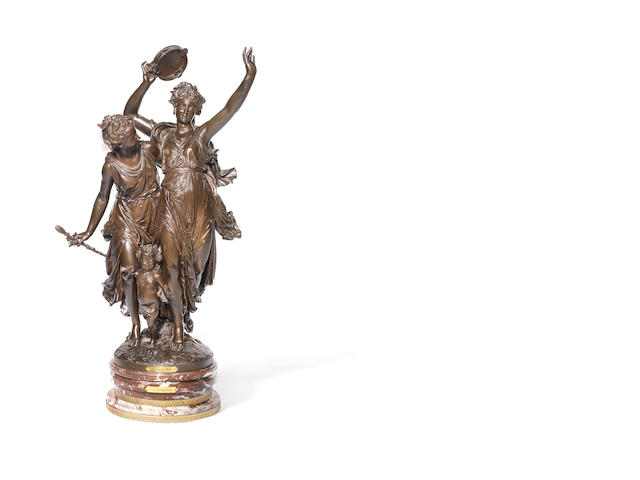 Jean-Louis Grégoire, French (1840 - 1890): A large patinated bronze figure group, L'Allégro probably cast by the Bernoux foundry