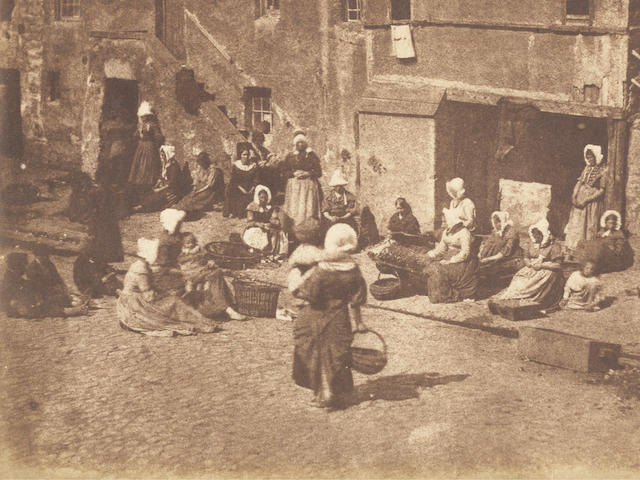 HILL (DAVID OCTAVIUS) and ROBERT ADAMSON North Street, Fishergate, women and children baiting the lines, [c.1845]