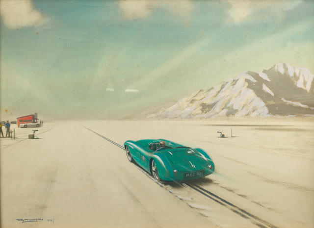 'Austin Healey at Bonneville Salt Flats', a hand-coloured print after Roy Nockolds,