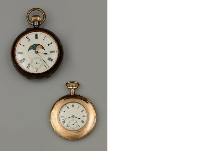 Two open face keyless wind pocket watches (2)