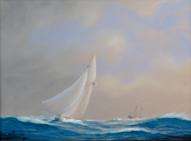 Tim Thompson (born Hull, 1951) An American yacht running past the Sandy Hook lightship