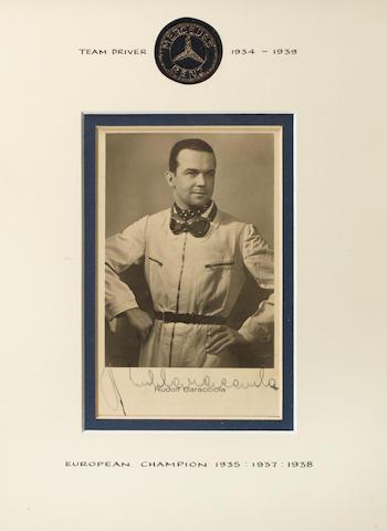 A signed Rudolf Caracciola promotional postcard,