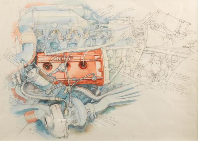 Bob Freeman (1950-2004), 'Ferrari 126C engine', an original artwork,