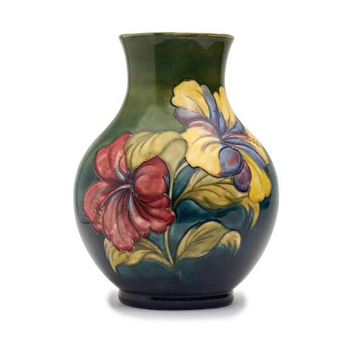 A Walter Moorcroft 'Hibiscus' pattern vase   Circa 1950