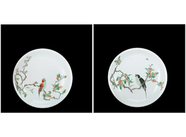 A pair of brilliantly enamelled wucai 'bird' dishes Kangxi