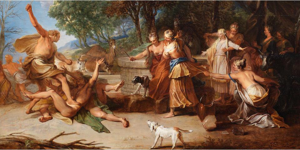 Nicolas Bertin (Paris 1668-1736) Moses defending the daughters of Jethro
