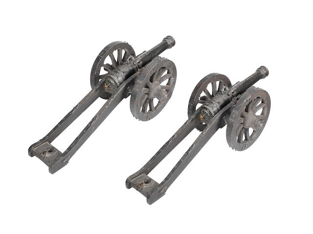 A Very Fine Pair Of Bronze Cannon Bearing The Coat-Of-Arms And Battle-Cry 'Gavre Au Chaplet' Of The Counts de Gavre
