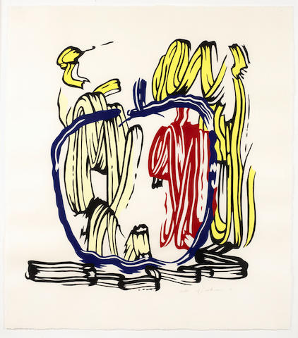 Roy Lichtenstein (American, 1923-1997) Vertical Apple, from Seven Apple Woodcuts Series  Woodcut printed in colours, 1983, on handmade Iwano Kizuki Hosho, signed, dated and numbered /60 in pencil, printed and published by Petersburg Press, New York and London, with full margins, 761 x 604mm (30 x 27in)(B)