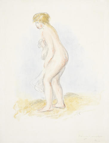 Pierre-Auguste Renoir (French, 1841-1919) Baigneuse Debout, en Pied (Delteil 28) Lithograph printed in colours, 1896, on laid, with the stamped signature, inscribed 'tire a cent examplaires' in pencil?, with margins, 420 x 345mm (16 1/2 x 13 1/2in) (SH)?? (unframed)