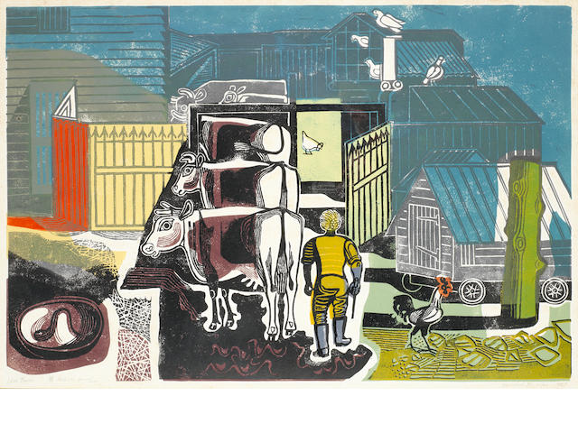 Edward Bawden R.A. (British, 1903-1989) Ives Farm, Great Bardfield Linocut printed in colours, 1956, signed, titled, dated 1957, numbered 28/35 and inscribed 'Artist's proof' in pencil, with margins, 410 x 615mm (16 1/8 x 24 1/4in)(B)