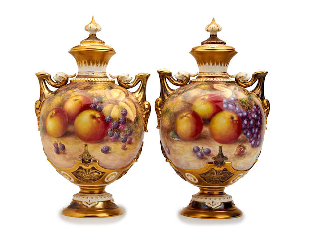 A pair of Royal Worcester fruit-painted vases, painted by Harry Ayrton Post War